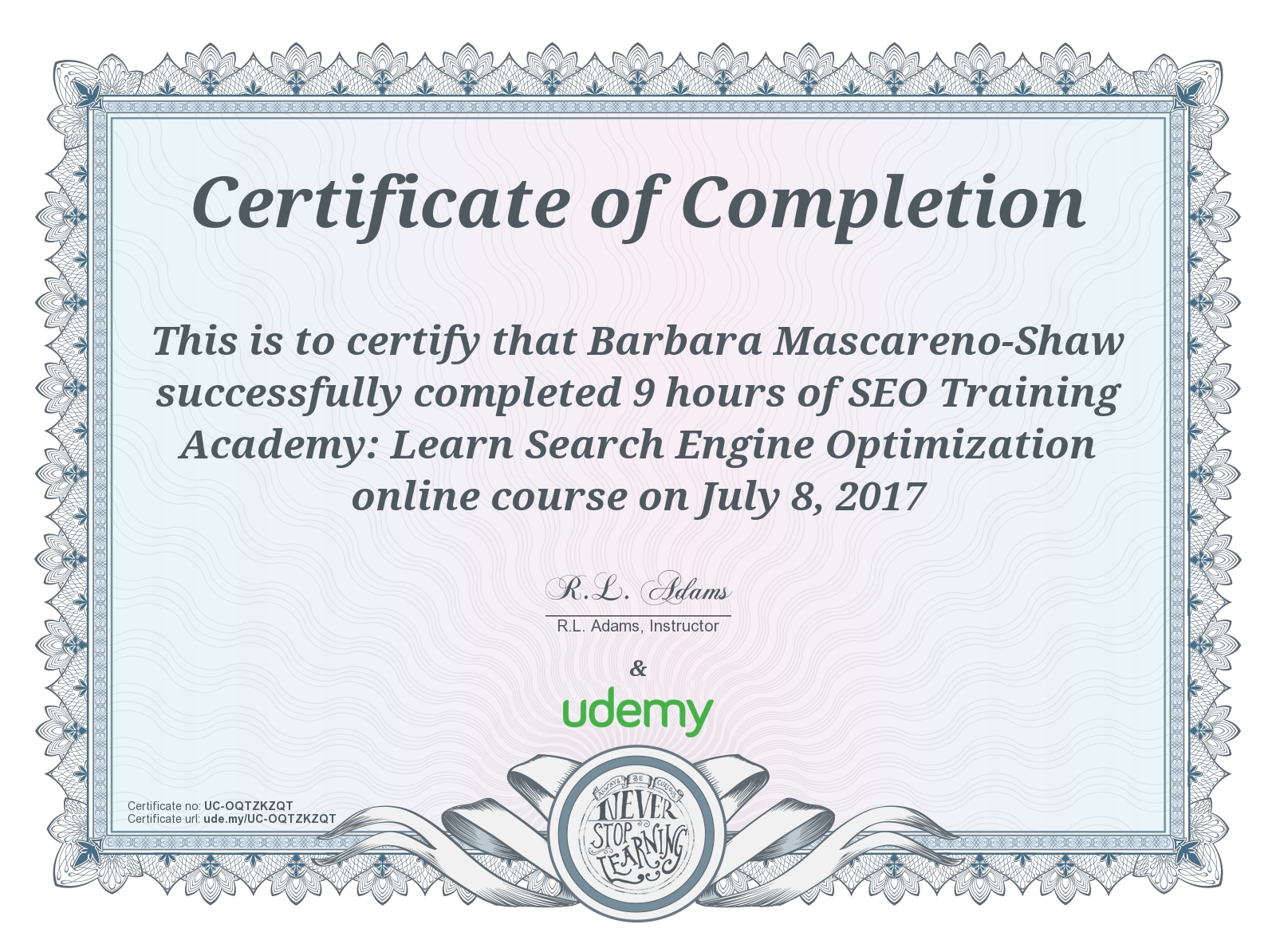 SEO certification Barbara Mascareno