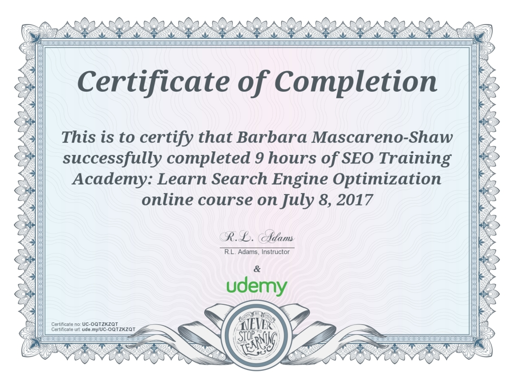SEO certification Barbara Mascareno