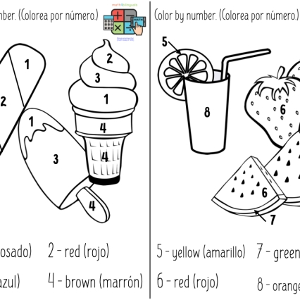 Summer bilingual color-by-number printable