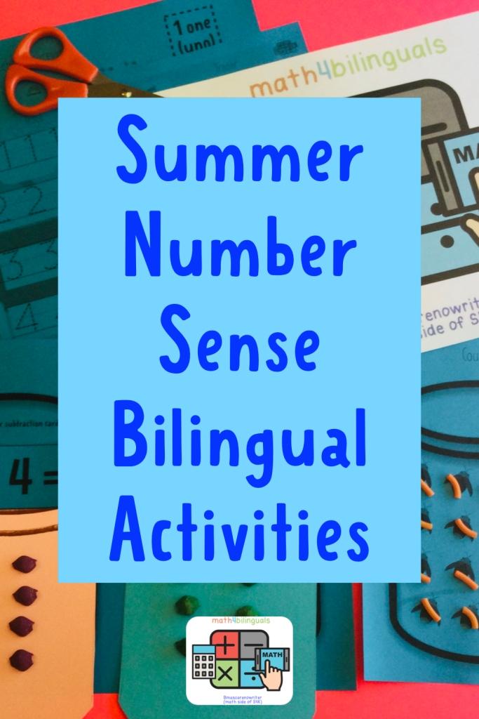 Summer number sense bilingual activities